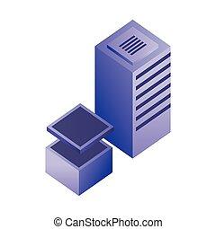 centro, base de datos, almacenamiento, servidor, datos, red