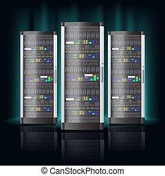 centro, base de datos, datos, habitación, hosting, servidor, tecnología, nube