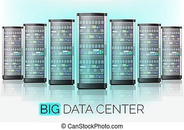 centro, base de datos, grande, habitación, hosting, servidor, datos, tecnología, nube