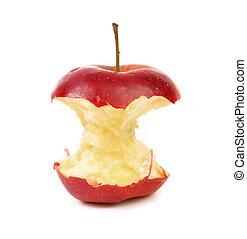 centro, bianco, mela, fondo, rosso