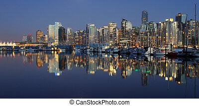 centro, canada, vancouver, notte, bc