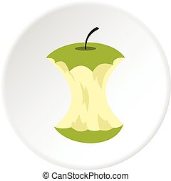 centro, cerchio, mela, icona