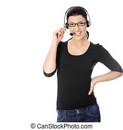 centro chamada, mulher, com, headset.