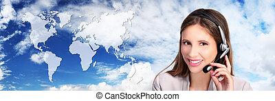 centro chamada, operador, com, mapa, global, internacional, contato, conceito
