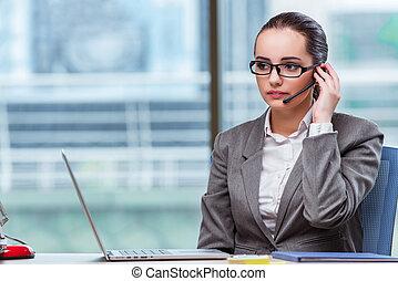 centro chamada, operador, em, conceito negócio