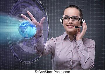 centro chamada, operador, em, negócio global, conceito