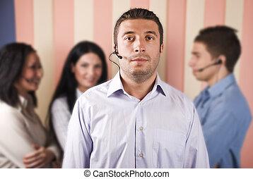 centro chamada, operadores, trabalho equipe
