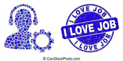 centro, chamada, selo, amor, azul, arranhado, serviço, selo, trabalho, mosaico