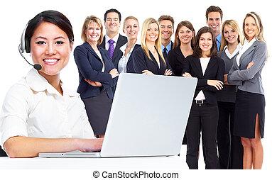 centro chiamata, operatore, affari, woman.