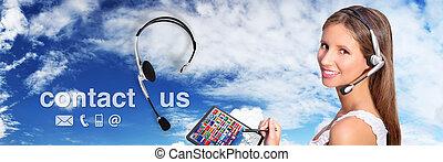 centro chiamata, operatore, globale, internazionale, contatto, concetto
