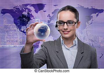 centro chiamata, operatore, in, affari globali, concetto