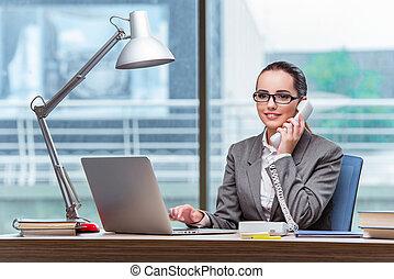 centro chiamata, operatore, in, concetto affari