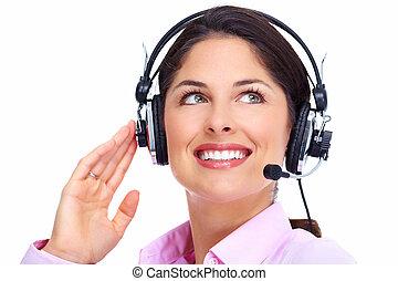 centro chiamata, operatore, woman.