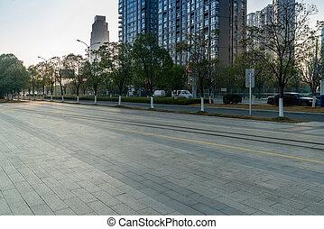 centro, china, guangzhou, urbanizado, ciudad, plaza