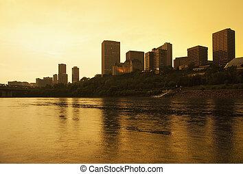 centro cidade, canadá, edmonton, pôr do sol