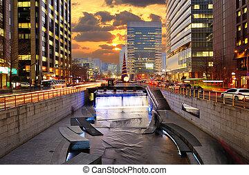 centro cidade, cityscape, coréia, seul, sul