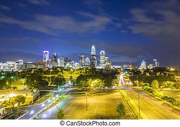 centro cidade, de, charlotte, carolina norte, skyline