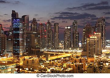 centro cidade,  dubaï, unidas, árabe,  Emirates, noturna