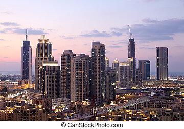 centro cidade,  dubaï, unidas, anoitecer, árabe,  Emirates