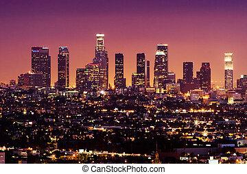 centro cidade, eua, angeles, los, skyline, noturna, ...