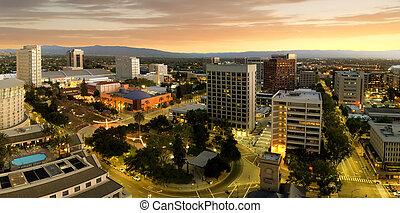 centro cidade, jose, califórnia, san, panorama
