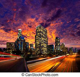 centro cidade, la, angeles, los, skyline, pôr do sol,...