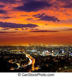 centro cidade, la, noturna, los angeles, pôr do sol, skyline, califórnia