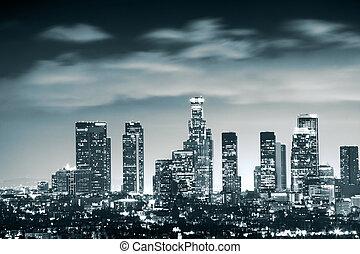 centro cidade, los, skyline, angeles