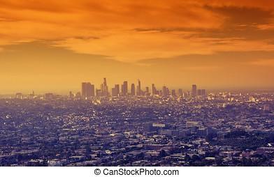 centro cidade, los, sobre, angeles., amanhecer