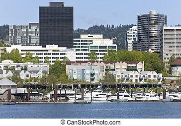 centro cidade, marina, portland, oregon.