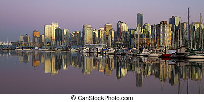 centro cidade, noite, canadá, vancouver, bc