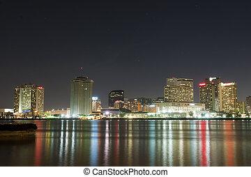 centro cidade, novo, refletir, orleans, luzes