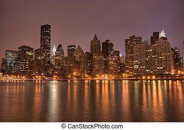 centro cidade, nyc, noturna, manhattan