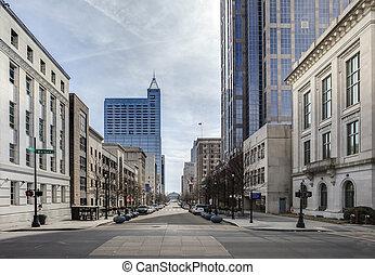 centro cidade, raleigh, carolina, norte, vista