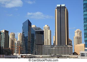 centro cidade, unidas, árabe,  Emirates, arquitetura,  dubaï