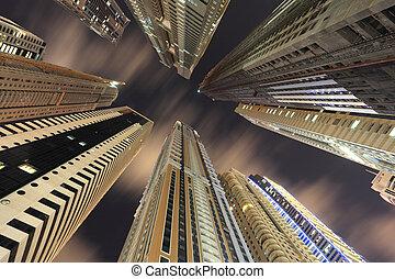 centro cidade, unidas, arranha-céus, árabe,  Emirates,  dubaï
