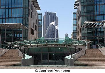 centro cidade, unidas, modernos, árabe,  Emirates, arquitetura,  dubaï