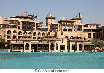 centro cidade, unidas, modernos, árabe,  Emirates, arquitetura, Árabe,  dubaï