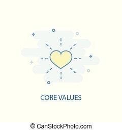 centro, colorato, appartamento, semplice, concept., valori, icona, disegno, linea, simbolo, illustration.