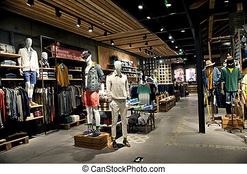 centro comercial, corredor, loja