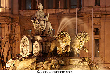 centro comercial de cibeles, madrid, spain., esto, neoclásico, fuente, era, construido, entre, 1777, y, 1782, y, tiene, ponerse, un, iconic, señal, en, el, español, capital.