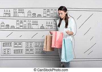 centro comercial, mulher, posar, alegre