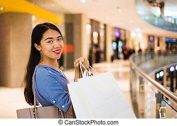 centro comercial, shopping, menina, feliz