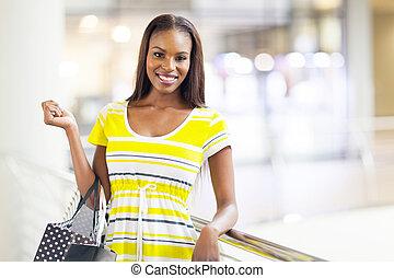 centro comercial, shopping mulher, americano, africano