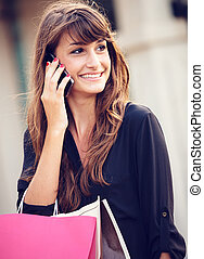 centro commerciale, shopping donna, giovane, attraente