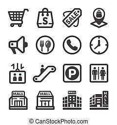 centro commerciale, shopping, icona