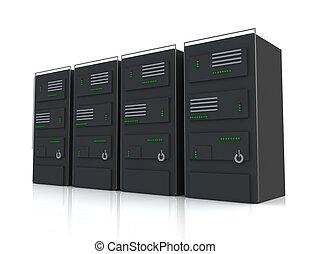 centro, concepto, red, servidores,  internet, datos