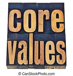 centro, concetto, -, legno, valori, etica, tipo
