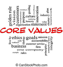 centro, concetto, parola, &, valori, nuvola, nero rosso