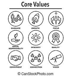 centro, contorno, icone, ditta, siti web, valori, infographics, o